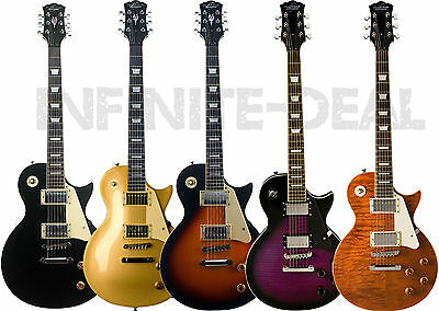 New Oscar Schmidt OE20 LP-Style Electric Guitar Sunburst,Gold,Quilt,Purple,Black
