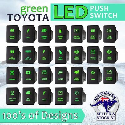 12V Green LED Fog Light Bar Push Switch For Toyota 2015 Hilux Prado 150 200 rav4