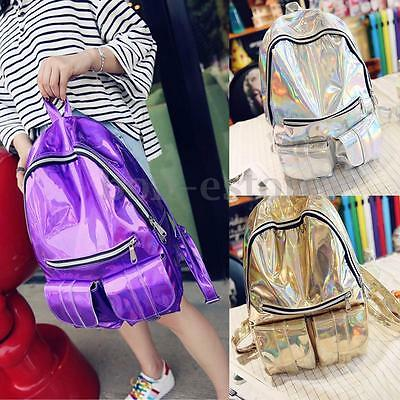 Travel Women Holographic Gammaray Rucksack Backpack Shoulder School Bookbag Bag