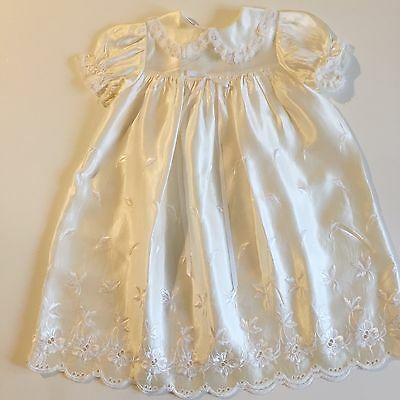 Vintage Handmade White Embroidered Christening Easter Baby Toddler Gown 12 3t