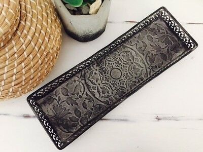 NEW Metal Charcoal Grey Rectangle Decorative Tray Centre Piece Ornament