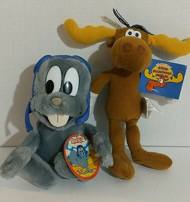 "Rocky 7.5"" 1991 And Bullwinkle 2000 9"" Plush Figures w/Tags Lot Of 2"