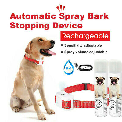 Rechargeable Dog Citronella Anti Bark 1 Collar + 2 Spray Training Stop Barking