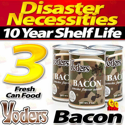 3 X Yoders Bacon Meat Canned 9oz Ready to Eat Long Term Emergency Survival Food