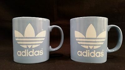 Pair of Blue Adidas Coffee / Tea Mugs with White Logo - Coloroll England