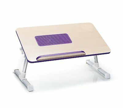 Natura-Bam All Natural Wooden Laptop Computer Desk - Cooling Fan , Purple - NEW