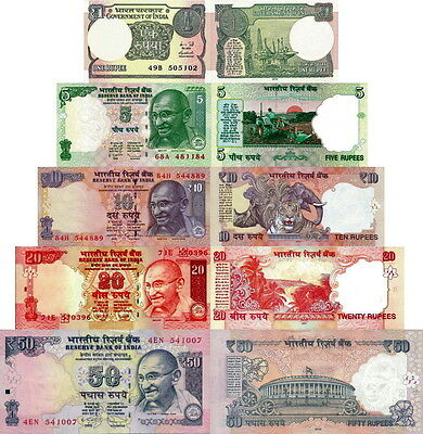 INDIA - Lotto 5 banconote 1/5/10/20/50 rupees FDS - UNC