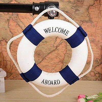 "Welcome Aboard Cloth Life Ring Navy Accent Nautical Decor 13.5""Decoration HQ"