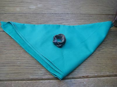 OFFICIAL Girls Guide /Scout  Neckerchief Scarf emerald green with leather toggle