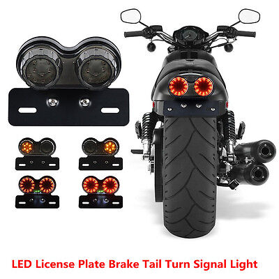License Plate LED Brake Tail Turn Signal Light For Bobber Cafe Racer ATV Chopper