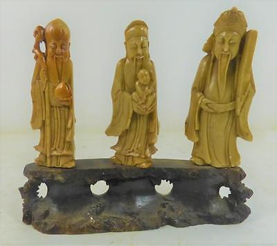 Vintage Chinese Carved Soapstone Figure Group Three Immortals