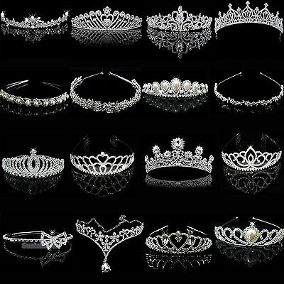Silver Bridal Veil Tiara Diamante Rhinestone Crown Wedding Party Prom Headband N