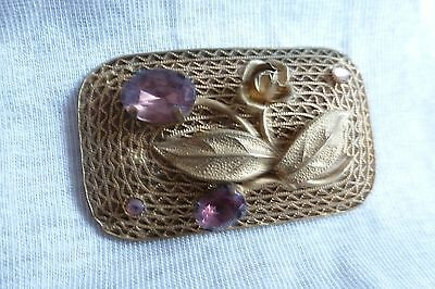 Antique jewellery Victorian beautiful Lilac Stone Open Wire Oblong Brooch