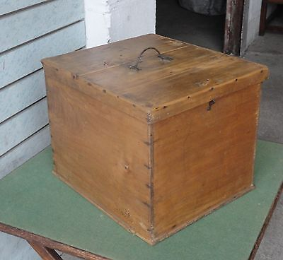 Lovely Old Antique Country Rustic Farmhouse French Pine Box Trunk Chest