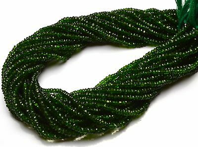 """Super Fine Quality Chrome Diopside Micro Faceted 3MM Rondelle Beads Strand 13"""""""