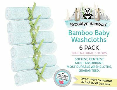 Brooklyn Bamboo Baby Washcloth, BLUE, 10-Inch by 10-Inch, 6-Pack ORGANIC Towels