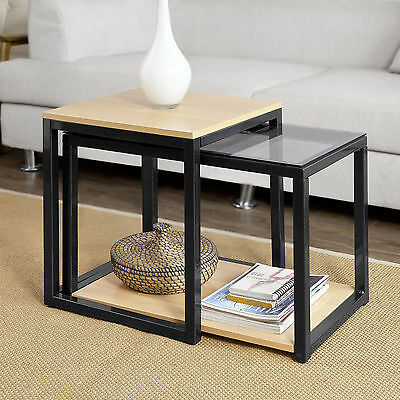 SoBuy® Nesting Tables, Set of 2 Coffee Table Side Table End Table,FBT35-SCH,UK