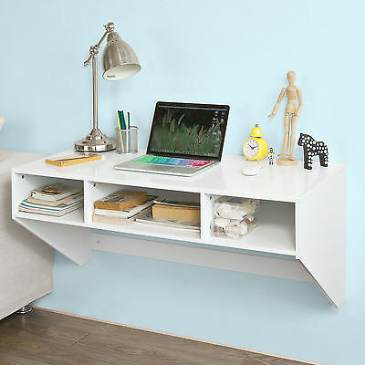 SoBuy Wall-mounted Dining Work Table,Computer Desk with Drawers,FWT14-W,White,UK