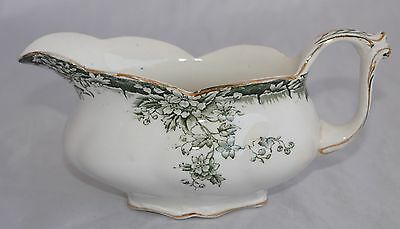 Antique Henry Alcock & Co RUTLAND Footed Gravy Boat - Green Flow (c1896-1910)