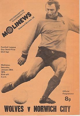 WOLVERHAMPTON WANDERERS v NORWICH CITY~ LEAGUE CUP SEMI FINAL ~ 26 JANUARY 1974