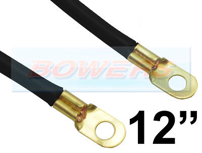 "12"" INCH 300mm CAR BATTERY BLACK EARTH EARTHING NEGATIVE LEAD CABLE WIRE STRAP"