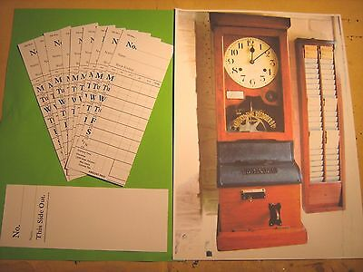 Vintage National Time Recorder Clocking In Cards X 10  New  White