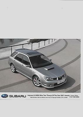 "SUBARU IMPREZA 2.5 WRX TOWCAR OF THE YEAR ORIGINAL PRESS PHOTO "" Brochure "" 2007"
