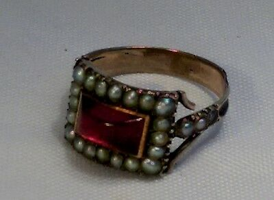 A 19th Century Georgian Gold, Seed Pearl & Ruby Mourning Ring Eliza Tyndall 1807
