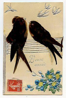 Carte Gauffre.oiseau En Plume Naturelle.card Embossed.bird In Natural Feather