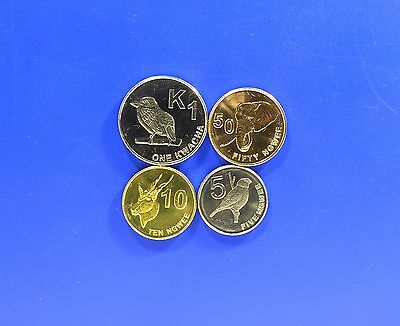 Zambia 2012 Full Unc 4 Coin Set 5 10 50 Ngwee 1 Kwacha Low Price !