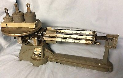 VINTAGE OHAUS 2610g TRIPLE BEAM BALANCE SCALE with Extra Weights
