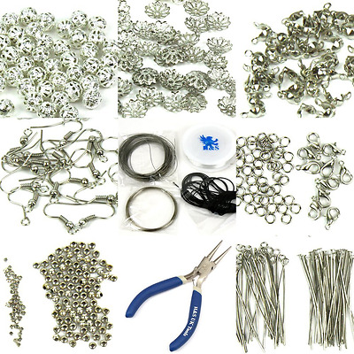 H&S® Findings Set Large Jewellery Making Kit Pliers Silver Beads Wire Start