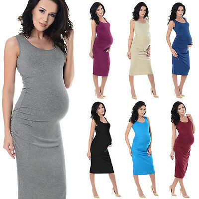 Purpless Sleeveless Jersey Ruched Pregnancy Maternity Midi Dress Dresses 8130