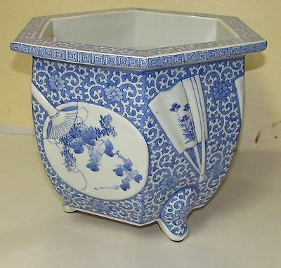 Antique Japanese Blue and White Planter with Fan Decoration