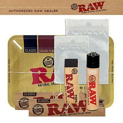 Authentic Raw Combo King Size Papers + Tray + Tips + Smell Proof Bags + Lighter