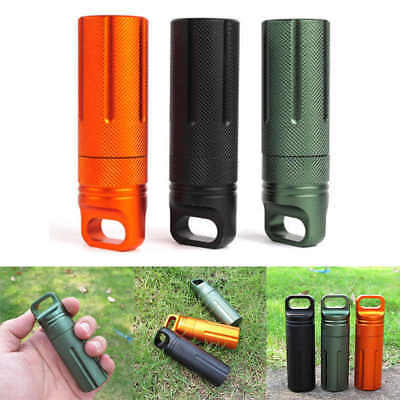 Waterproof Large Aluminum Pill Box Case Bottle Holder Outdoor Container Keyring