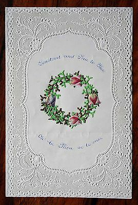 Fine Victorian Valentine Card Lace Paper Mansell Tulip Wreath Opens Unused