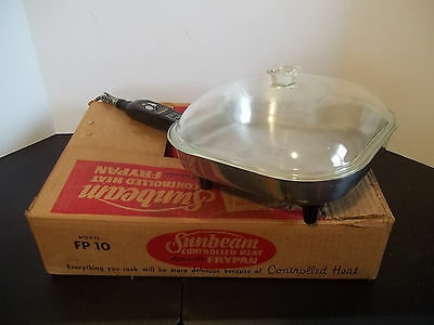 Vintage SUNBEAM Electric Skillet Glass Lid Control Heat Automatic Fry Pan FP-10A