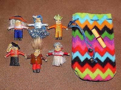6 x  Large Handmade Worry Dolls With Pouch