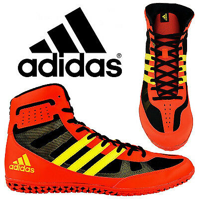 Adidas Mat Wizard 3.1 Red Yellow Wrestling Shoes Specialist Light Weight Control