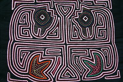 Kuna Abstract Traditional Mola Applique Bird morphing into Fish Illusion 94A