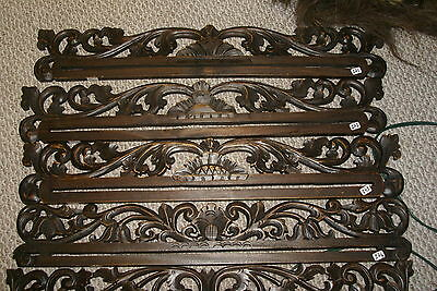Handcarved Lacy Foliage Wood Textile Wall Display Drapes Hanger Rod Rack 271,4,5
