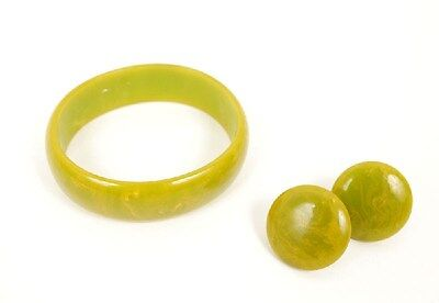 Vintage Green Marbled Bakelite Set Earring Bracelet