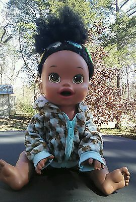 """Baby Alive Super Snacks- Snackin' Sara African American Doll soft face 15"""""""