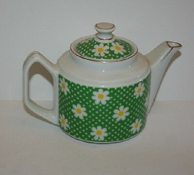 Teapot John Wagner & Sons Green White with Daisies Daisy's