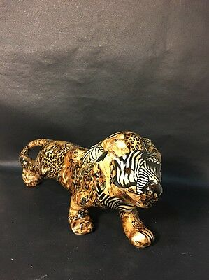 La Vie Ceramic Patchwork Lion Jungle Print Figurine
