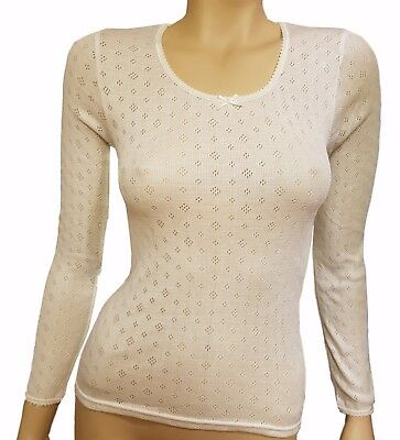 New Thermal Women Ladies Long Sleeve Ivory Color Winter Warm Top Underwear