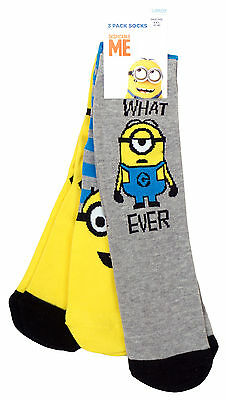 Boys PACK OF 3 Pairs Despicble Me Minions What Ever Socks UK Shoe Sizes 9 to 6.5