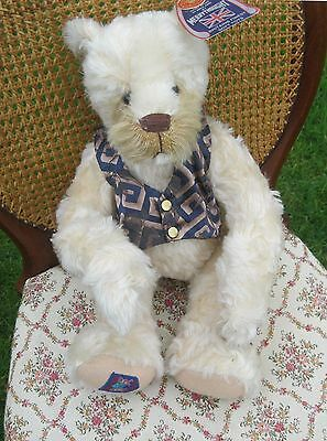 merrythoght teddy bear 18 inch . White with fawn muzzle , gorgeous waistcoat