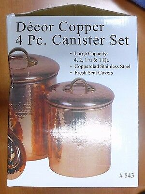 """4 Piece Décor Copper """"Hammered"""" Canister Set (i735)"""